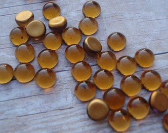 Tiny Vintage 5mm Smoke Topaz Gold Foiled Flat Back Round Glass Cabs (12 pieces)