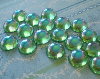 Vintage 18mm Western Germany Peridot Green AB Fire Polished Unfoiled Round Flat Back Glass Cabs or Stones (3 pieces)