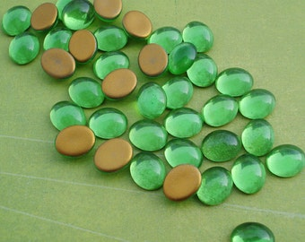 Preciosa 10x8mm Peridot Lime Green Gold Foiled Flat Back Oval Glass Cabs (6 pieces)