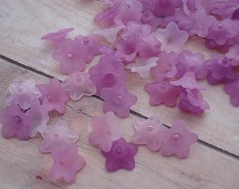 13mm Small Five Petal Flowers In Shades Of Pinkish Purple (12pcs)