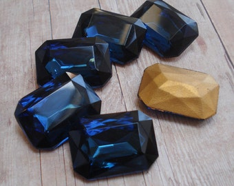 Vintage 25x18mm Montana Blue Gold Foiled Pointed Back Octagon Faceted Glass Jewel or Cab ( 1 piece)
