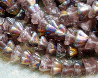 Czech 8x6mm Rose AB Fire Polished Bell Flower Glass Beads (25 pieces)