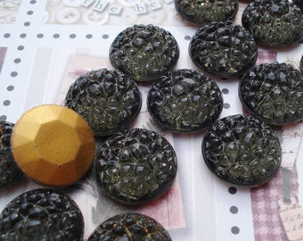 Vintage Rare 14mm Smoked Grey Textured/Bumpy Gold Foiled Faceted Back Round Glass Cabs or Jewels (4 pieces)