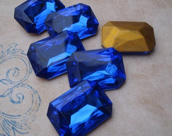 1 Vintage 25x18mm Czech Sapphire Blue Octagon Gold Foiled Faceted Pointed Back Glass Rhinestone Jewel
