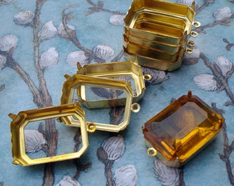 25x18mm Brass Octagon Open Back 1 Ring/Loop 4 Prongs Settings for Cabs or Jewels (6 pieces)