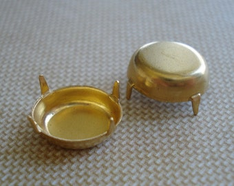 Brass 12x10mm Oval NO RING 4 prongs Closed Back Settings for Pointed Back Jewels or Flat Back Cabs (6 pieces)