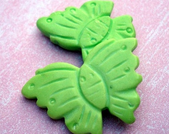 Howlite 30x18mm Muted Lime Green Hand Carved Butterfly Beads (7 pieces)