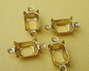 Brass 8x6mm 2 Ring/Loops 4 Prongs Octagon Open Back Connector Settings for Jewels or Cabs (6 pieces)