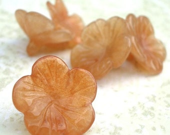 18mm Hand Carved Candy Jade Amber Sakura Flower Beads (4 pieces)