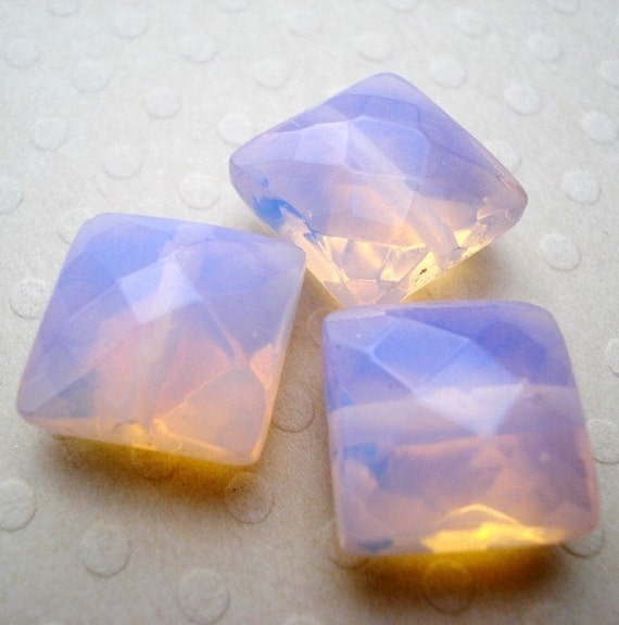 10x10mm Pink Opalite Faceted Square Glass Beads (8 pieces)