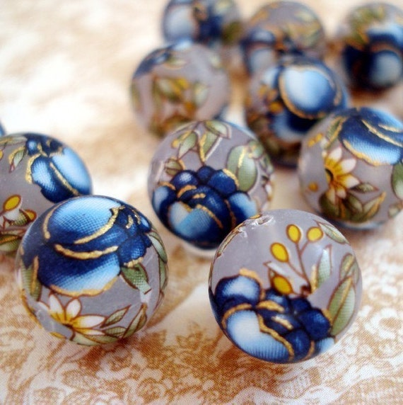 Clear 12mm Frosted Round Tensha Beads with Blue Cabbage Roses (2 pieces)