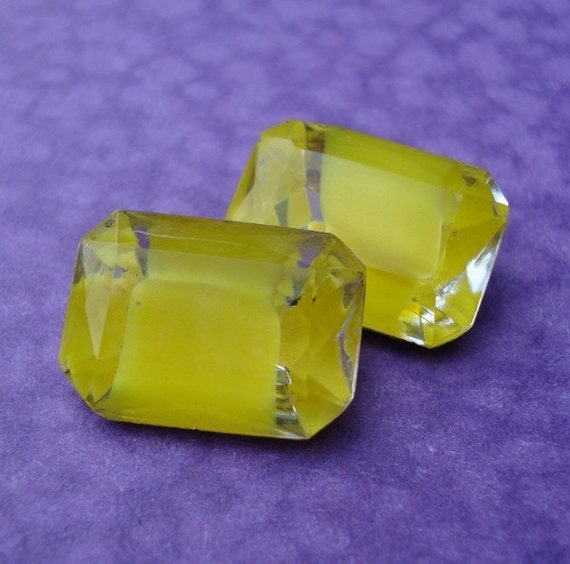Rare Vintage 18x13mm Yellow/Citrine Gold Foiled Back Octagon Glass Jewels (2 pieces)