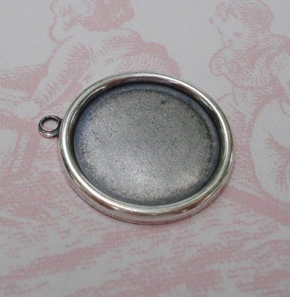 18mm Antique Silver Plain Edge Hollowed Back Round Settings for Flat Back Cabs or Jewels (4 pieces)