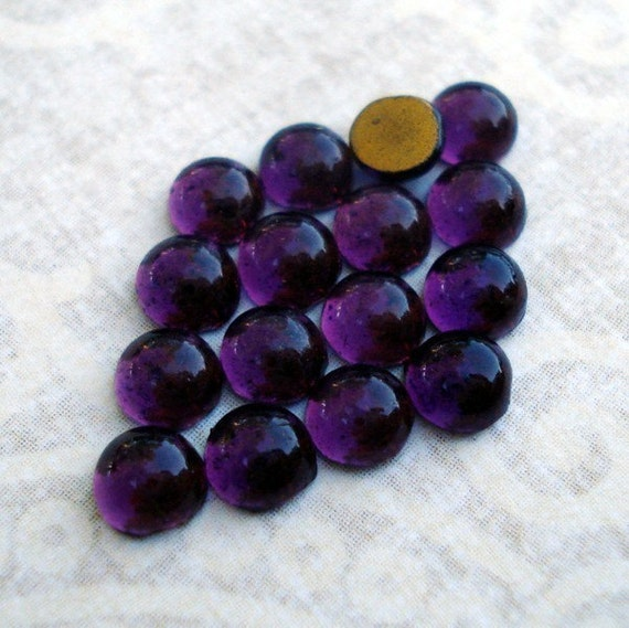 24 Tiny 4mm Amethyst Gold foiled Flat Back Round Glass Cabochons