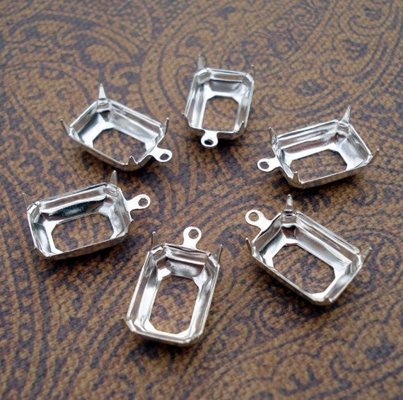14x10mm Sterling Silver Plated 1 Ring/Loop Open Back Octagon Settings (6 pieces)