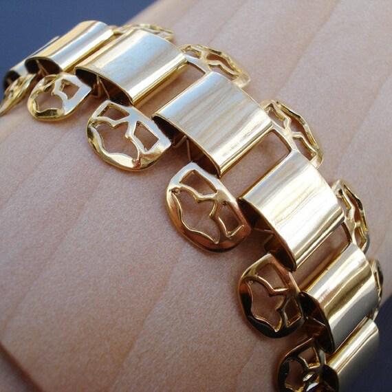 24K Gold Plated Stamped Filigree Bracelet (1)