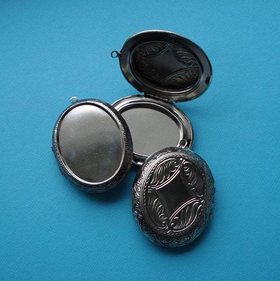 Large 48x38mm Limited Stock Etched/Engraved Nickel Silver Plated Oval Locket with Recessed Area 40x30mm for Flat Back Jewel or Cab (1)
