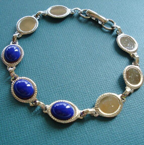 "2 Silver Plated 8"" Bracelet For 10x8mm Oval Flat Back Cabs or Jewels"