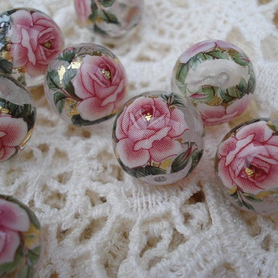 Clear 12mm Tensha Beads with Dusty Rose Pink Cabbage Roses (2 pieces)