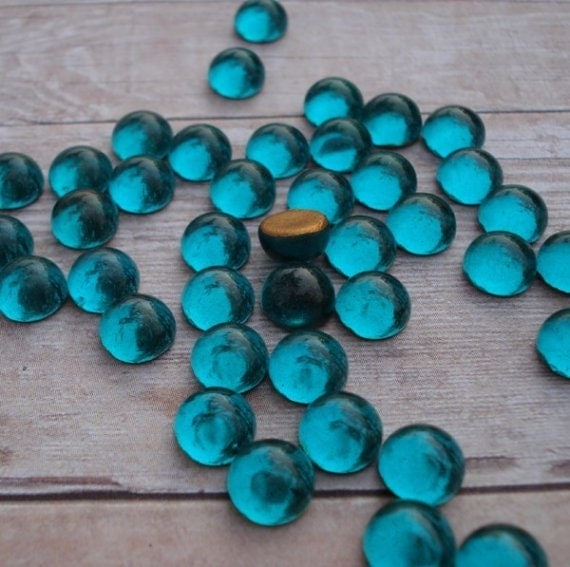 Vintage 5mm Zircon Blue Gold Foiled Round Glass Flat Back Cabochons (12)