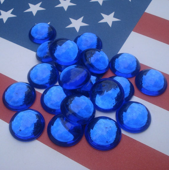 Vintage 18mm Sapphire Blue Silver Foiled Flat Back Round Glass Cabs (3pcs)