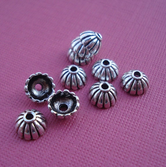 Vintage 7mm Antiqued Silver Metal Bead Caps for 6MM BEADS (12 pieces)
