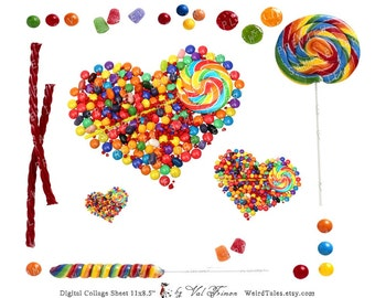 LOVELY Sugar CANDIES  - Digital Collage Sheet (No 042)