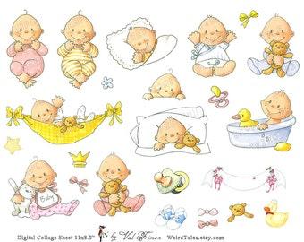 NEWBORN LITTLE MIRACLES  - Digital Collage Sheet (No 061)