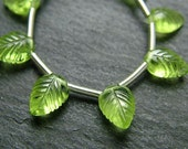AA-AAA Peridot Carved Leaf Briolettes 7-10mm (9 beads) (ET135)