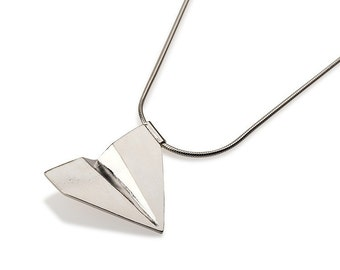 Origami Airplane Necklace , Silver Paper plane pendant , Paper Plane Pendant Necklace