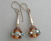 Earrings Lampwork Peach Matrix with Leaves and Silver