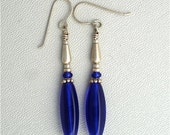 Cobalt Blue Earrings Dangle with Sterling Silver
