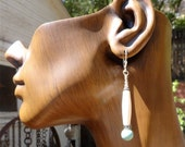 Turquoise and Bone Earrings on Sterling  Silver 2 1/2 inches long