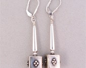 Sterling Silver Earrings Long Wiith Turkish Focal Beads