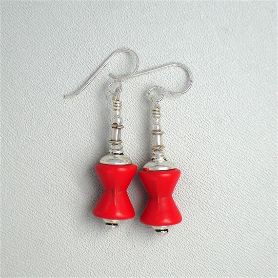 Red Bohemian Pressed Glass Earrings