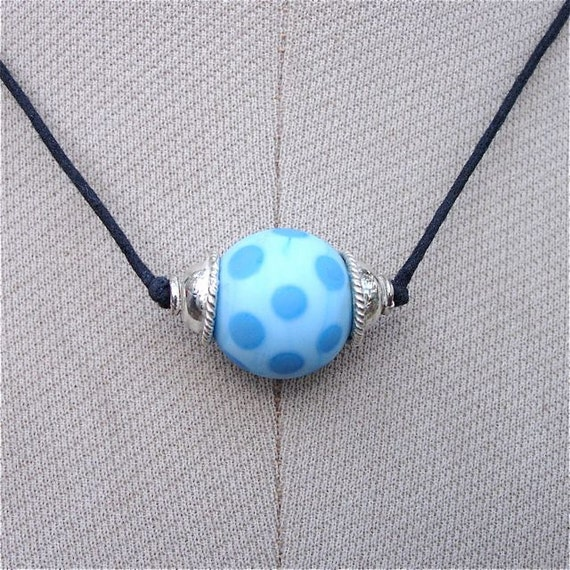 Lampwork Sky Blue and Turquoise Single Bead on Two Knot Cord..