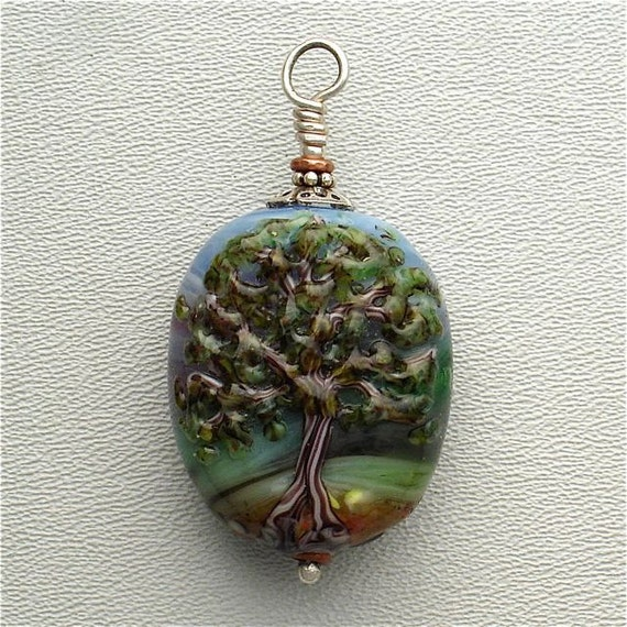 Lampwork Tree Of Life Bead Made With Recycled Stained Glass and Signed