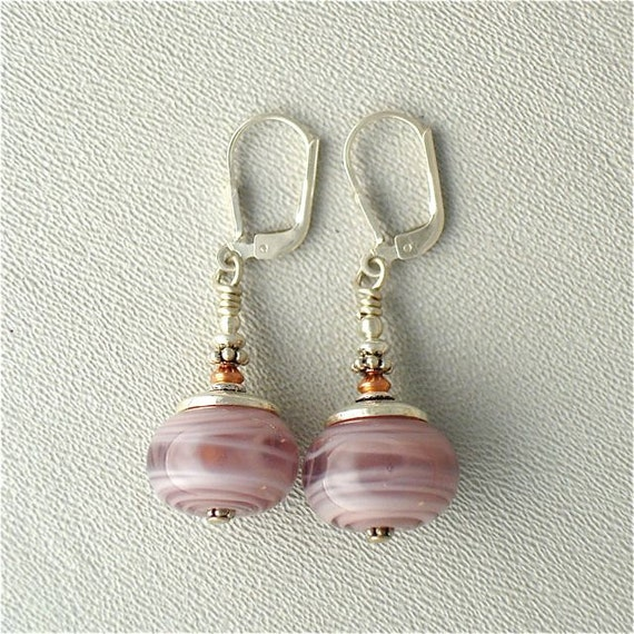 Lampwork Glass Lever Back Earrings in Soft Veiled Light Dusty Rose With Sterling Silver
