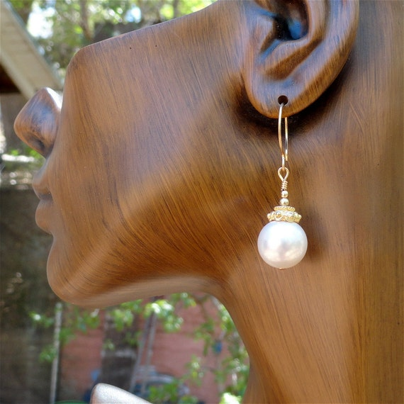 Bridal Swarovski Pearl Earrings on 14 Ct Gold Fill. Wedding Jewelry