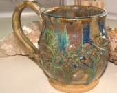 Stoneware Mug with Oozing Greens and Blues POTTERY SALE