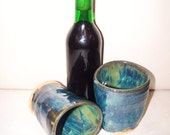 SALE Large Stoneware tumblers with oozing green and blue glaze