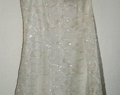 Designer Vintage BETSEY JOHNSON White Slip-Dress w/Sequins