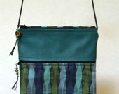 Marin Purse in Aqua Waves and Teal Leather