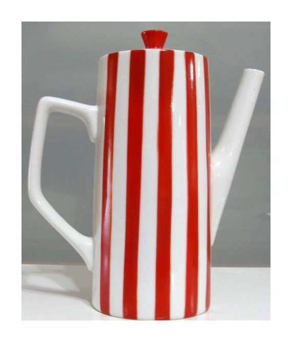 Red and White Striped Porcelain Coffee or Tea Pot