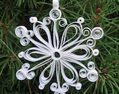Set of 3, Quilled Snowflake Ornaments in Decorative Tin, First Snowfall Collection