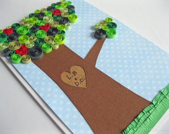 Paper Quilling Love Tree Card, Customizable, Unique wedding, anniversary, Valentine's card
