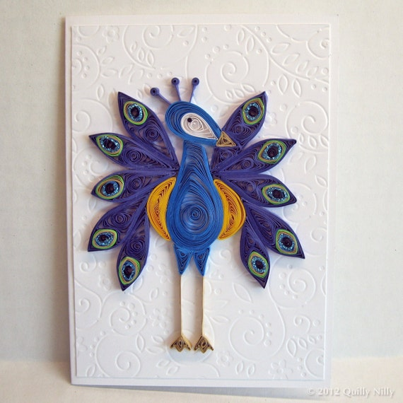 Paper Quilled Peacock Card, handmade greeting card