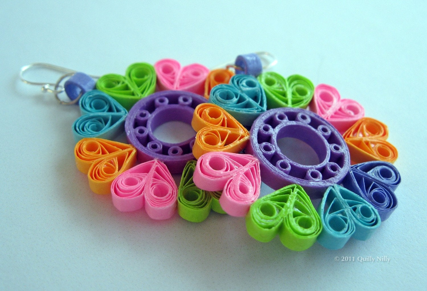 Paper quilled earrings sophie in summertime fun by quillynilly