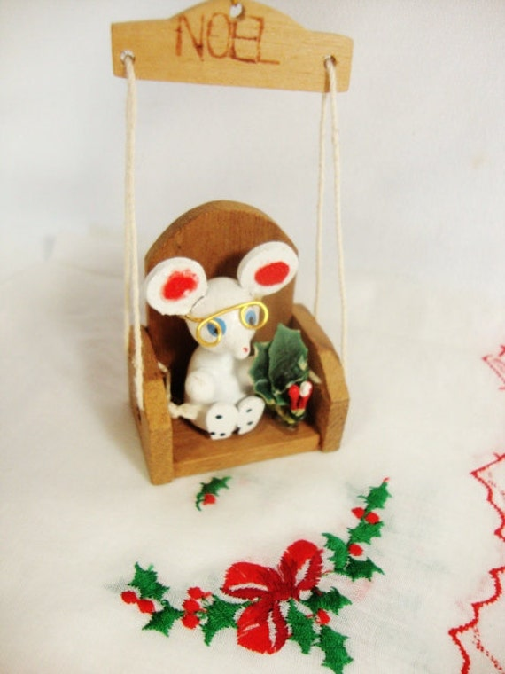 vintage christmas ornament wood mouse in a swing