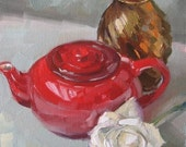 STUDIO SALE -White Rose with Red Teapot and Gold Vase- Original oil painting